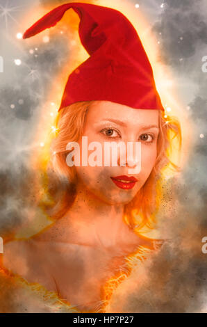 Digitally enhanced image of a young blond woman with red cap - Stock Photo