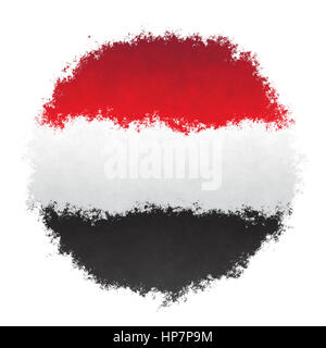 Color spray stylized flag of Yemen on white background - Stock Photo