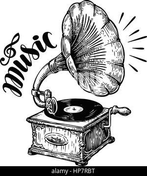 Hand drawn gramophone, sketch. Music, nostalgia symbol. Vintage vector illustration - Stock Photo