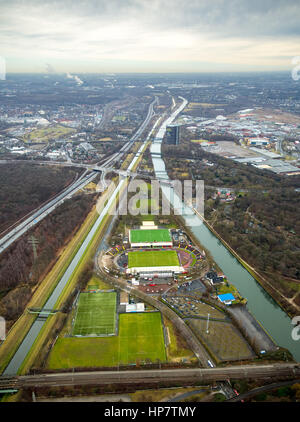 Stadium Niederrhein, grandstand , sports field, SSB terrain, between Emscher and Rhine-Herne Canal, Emscher Island, - Stock Photo