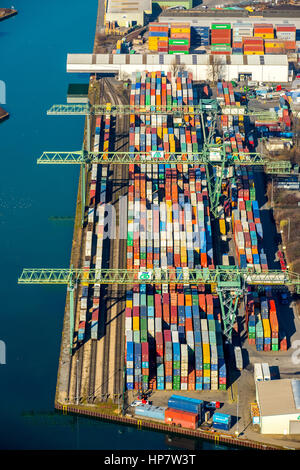 Container Terminal Dortmund GmbH, Kanalstraße, Dortmund Port, Dortmund, Ruhr Area, North Rhine-Westphalia, Germany - Stock Photo
