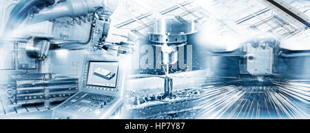 Production with CNC machine, drilling and welding and construction drawing in industrial operation. - Stock Photo