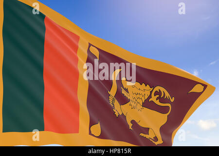 3D rendering of Sri Lanka flag waving on blue sky background, Sri Lanka's Independence Day is celebrated on 4th - Stock Photo