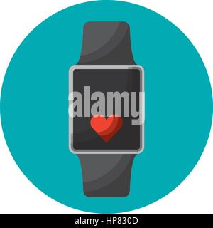 smartwatch with cardio app vector illustration design - Stock Photo