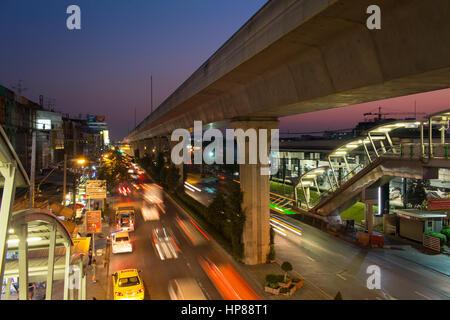 Bangkok, Thailand - February 13,2017 : Bangkok traffic flow in evening time on Sukhumvit road - Stock Photo