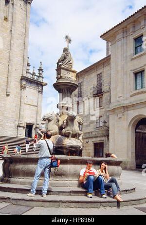 People at Platerías Square. Santiago de Compostela. La Coruña province. Galicia. Spain. - Stock Photo