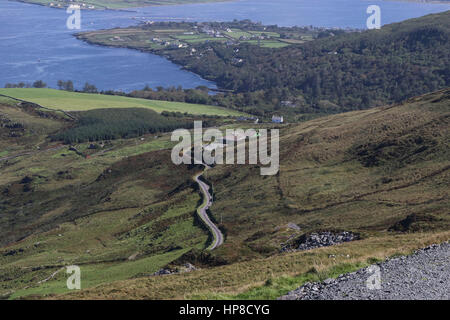 The view from Geokaun Mountain Valentia Island looking across to Knightstown and its harbour. The Renard Point to - Stock Photo