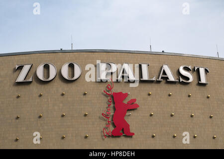 Berlin, Germany - February 19, 2017: The logo of the Berlinale (Berlin International Film Festival) on the facade - Stock Photo