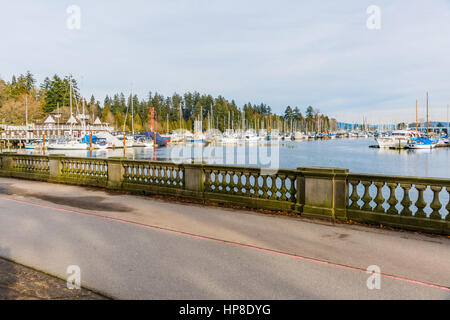 Vancouver, Canada - January 28, 2017: Boats and yachts in Vancouver marina at Stanley Park - Stock Photo