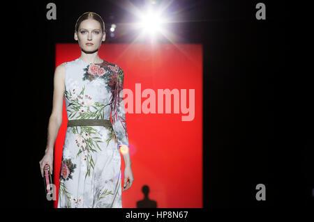 Madrid, Spain. 18th Feb, 2017. Model at the Hannibal Laguna Fashion Show during the Mercedes-Benz Fashion Week Madrid - Stock Photo