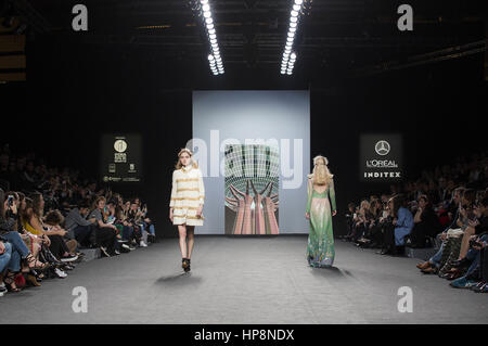 Madrid, Spain. 18th Feb, 2017. Models at the Teresa Helbig Fashion Show during the Mercedes-Benz Fashion Week Madrid - Stock Photo
