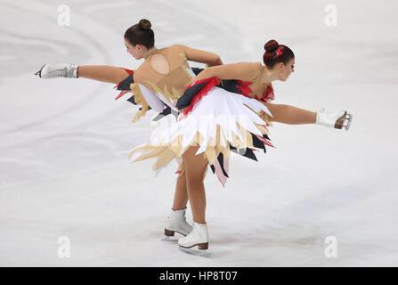 Zagreb, Croatia. 19th Feb, 2017. Ice skating team Berlin 1 of Germany perform at the Senior Free Program of 14th - Stock Photo