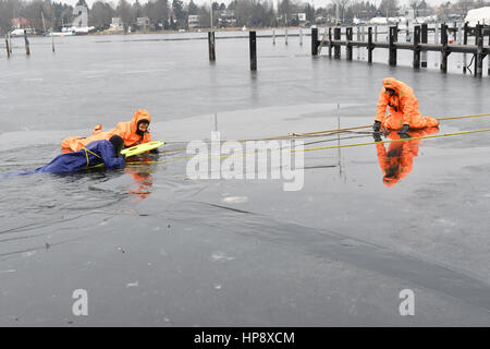 Berlin, Germany. 19th Feb, 2017. Members of the German Life Saving Association (DLRG) demonstrate the saving of - Stock Photo