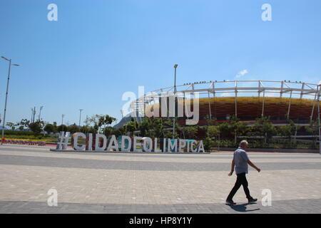 A visitor walks past the Olympic park in Rio de Janeiro, Brazil, 18 February 2017. Photo: Isaac Risco-Rodriguez/dpa - Stock Photo