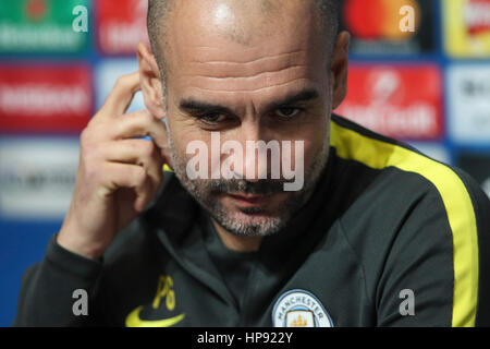 Manchester, UK. 20th Feb, 2017. X during a press conference before Manchester City's UEFA Champions League match - Stock Photo