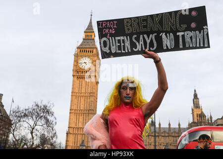London, UK. 20th February, 2017. Protesters gather for a demonstration against the proposed state visit by Donald - Stock Photo