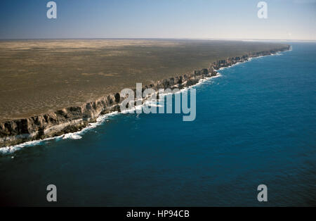 View over the cliffs of the Great Australian Bight - Stock Photo