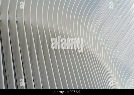 A close-up view of the ribbed wings of the Oculus World Trade Center Transportation Hub in New York City. - Stock Photo