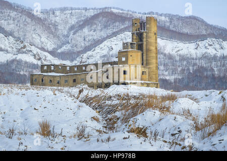 Ruins of the abandoned industrial building, Sakhalin, Russia - Stock Photo