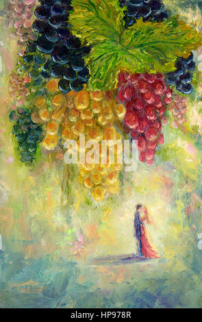 Original  oil painting of bunch of grapes and couple kissing in distance  on canvas.Modern Impressionism, modernism,marinism - Stock Photo