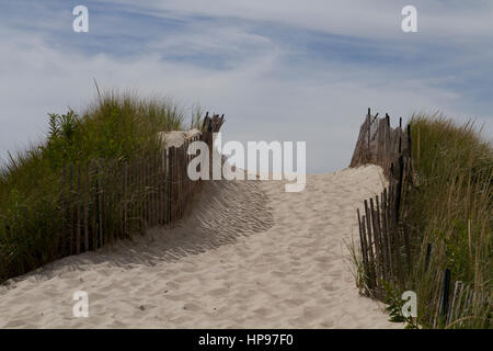 Path in the Dune on Rhode Island. - Stock Photo