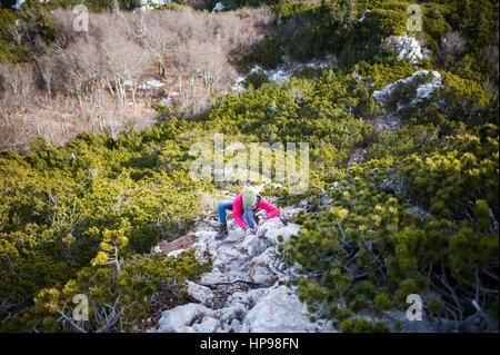 Hiking in the Northern Velebit National Park, Croatia - Stock Photo