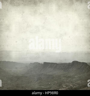 textured old paper background with central Gran Canaria landscape - Stock Photo