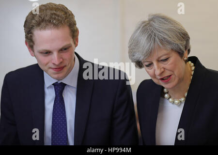 Prime Minister Theresa May and Stoke Central by-election candidate Jack Brereton, during a tour of the Emma Bridgewater - Stock Photo