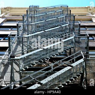 Apartment Building Fire Escape Staircase - Stock Photo