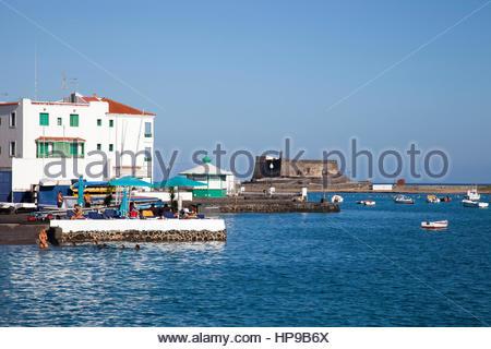 view with Castillo de San Gabriel,promenade Arrecife town,Lanzarote,Canary,Spain - Stock Photo