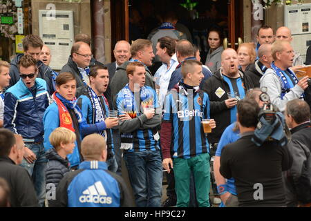 Club Brugge fans in Manchester for Europe League against Manchester United - Stock Photo