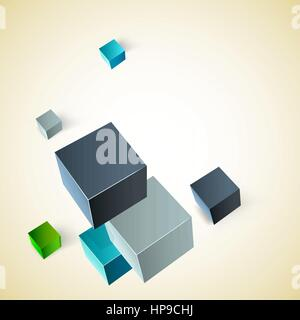 Vector illustration of 3d cubes - Stock Photo