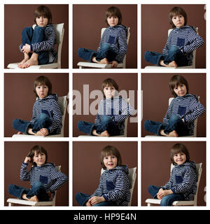Cute collage of a young boy isolated on brown background - Stock Photo