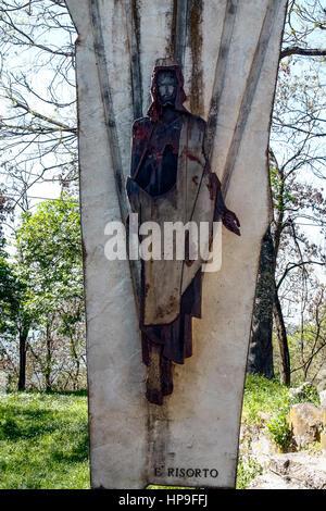 Italy Emilia Romagna Marzabotto: San Martino di Caprara: sculpture at the Resurrection - Stock Photo