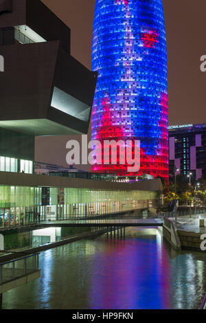 Building Design Hub Barcelona, by MBM architects. Agbar Tower, by Jean Nouvel. Glories district. Barcelona. Spain - Stock Photo