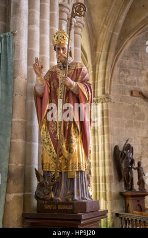 Sculpture of Sanctus Tugdualus in the St. Tugdual Cathedral, Treguier, France - Stock Photo