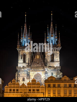 Prague, Czech Republic - may 25, 2016: Church of Mother of God (Our Lady) before Tyn was built in 15th century in - Stock Photo