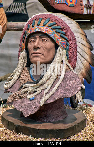 Bust statue of a Native American Indian - Stock Photo