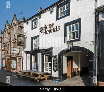 The Hare & Hounds pub in the main street of Appleby-in-Westmorland Cumbria England UK - Stock Photo