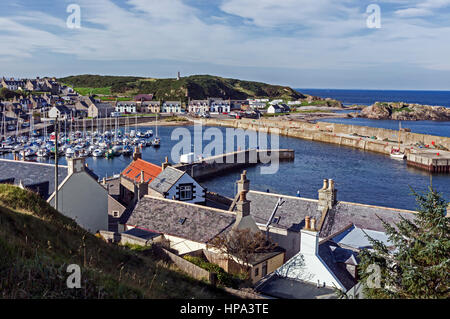 Housing surrounding the harbour in the old fishing village of Findochty Moray North East Scotland - Stock Photo