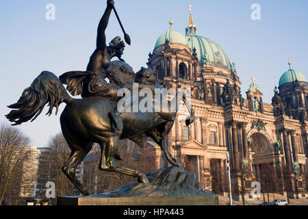 Mounted Amazon in front of the Old Museum, Berlin - Stock Photo