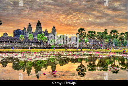 Sunrise at Angkor Wat, a UNESCO world heritage site in Cambodia - Stock Photo