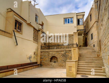 Street in Old city, Icheri Sheher is the historical core of Baku. Azerbaijan. World Heritage Site by UNESCO - Stock Photo