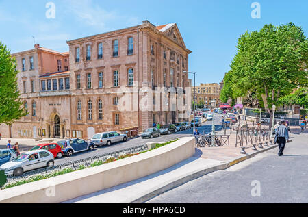 MARSEILLE, FRANCE - MAY 4, 2013: The walk along the Daviel Square with a view on the historic building of Hotel - Stock Photo