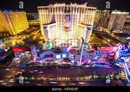 AS VEGAS, NEVADA - MAY 7, 2014: Beautiful night view of Las Vegas strip with colorful resort casinos lit up. - Stock Photo