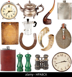Big size collection of various vintage items including clocks, teapots, flasks isolated on white background - Stock Photo