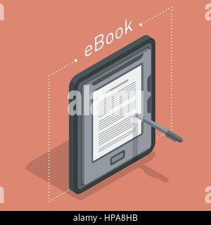 Electronic books icon. Isometric flat vector - Stock Photo