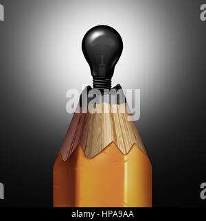 Pencil light bulb idea as a creativity and creative innovation concept as a graphite  shaped as an electric shinning object.