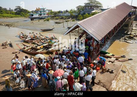 Dala Ferry Terminal, Yangon, Myanmar, South East Asia - Stock Photo