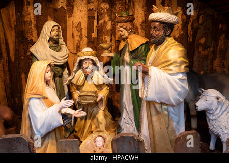 Nativity scene figures, Holy Family and Holy Three Kings of the nativity scene, Christmas Market, Bremen, Germany - Stock Photo